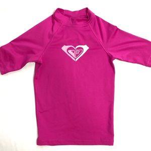 Roxy Girls Swim Rash Guard Pink Size Lg